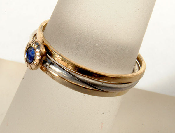 Skinny Stack Set with Sapphire 4 - riccoartjewelry.com  - 2