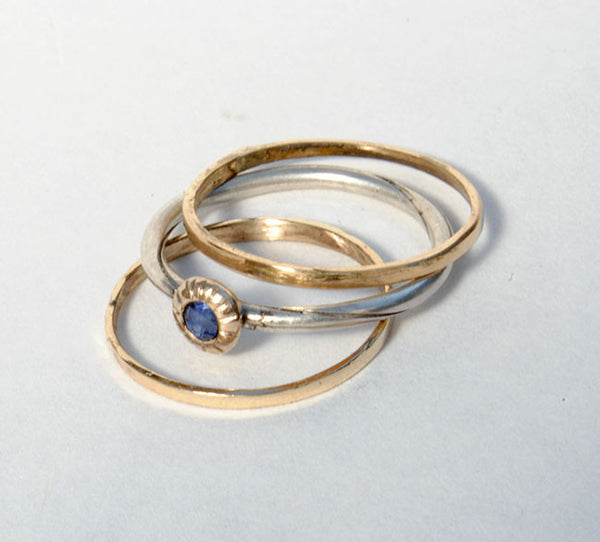 Skinny Stack Set with Sapphire 4 - riccoartjewelry.com  - 4