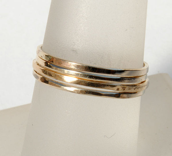 Skinny Stack Set of Four Gold Petite Rings - riccoartjewelry.com  - 2