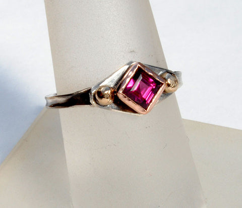 18K Rose and 18K Yellow Gold on Silver Ring with Grape Garnet - riccoartjewelry.com  - 1