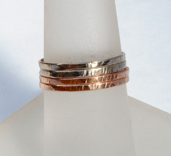 18K Gold Skinny Stack Set White, Yellow and Rose Gold - riccoartjewelry.com  - 2