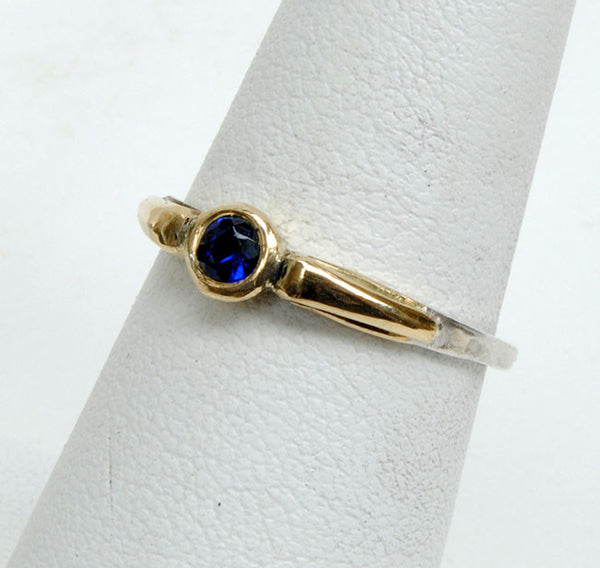 Gold and Silver Stack Ring with Sapphire - riccoartjewelry.com  - 1