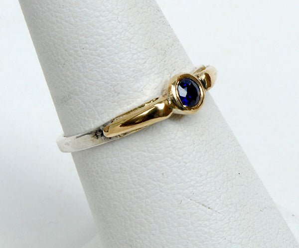 Gold and Silver Stack Ring with Sapphire - riccoartjewelry.com  - 2