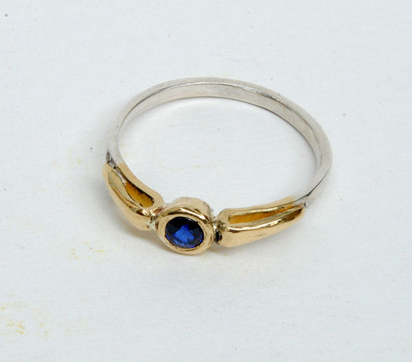 Gold and Silver Stack Ring with Sapphire - riccoartjewelry.com  - 3