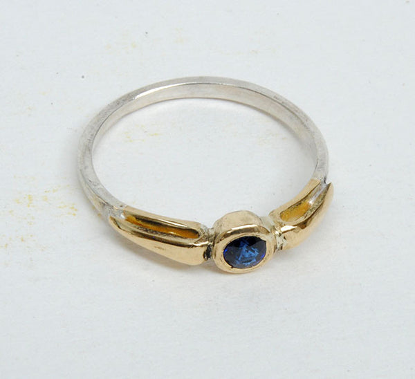 Gold and Silver Stack Ring with Sapphire - riccoartjewelry.com  - 4