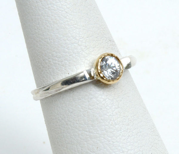Gold and Silver Stack Ring with Zircon - riccoartjewelry.com  - 1