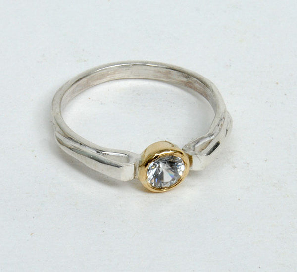 Gold and Silver Stack Ring with Zircon - riccoartjewelry.com  - 3