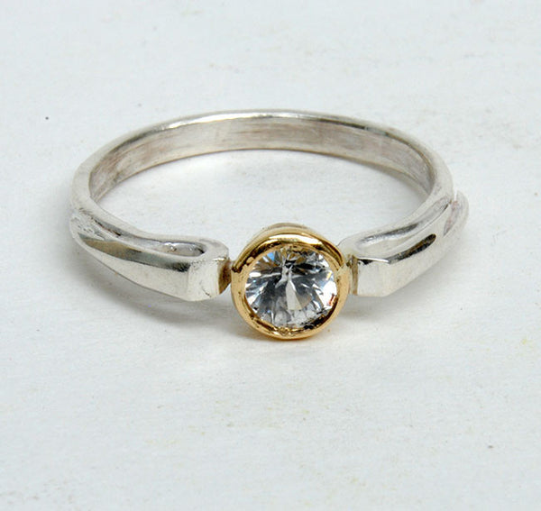 Gold and Silver Stack Ring with Zircon - riccoartjewelry.com  - 2