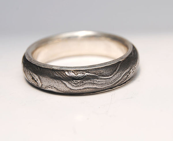 Men's Ring Damascus Steel with Gold Liner - riccoartjewelry.com  - 2