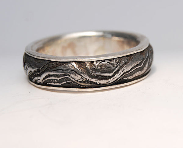 Men's Ring Damascus Steel with Gold Liner - riccoartjewelry.com  - 1