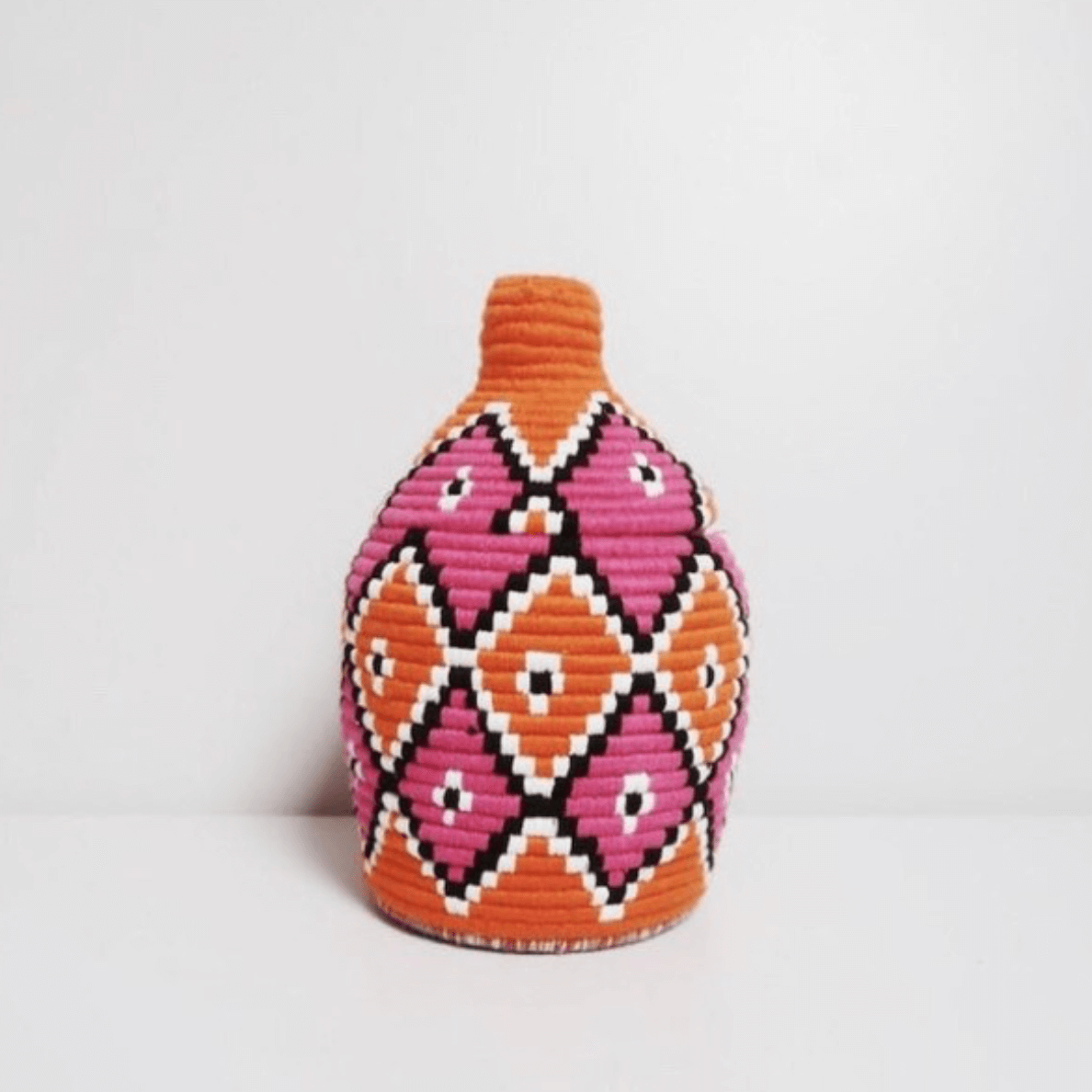 Moroccan Vintage Wool Basket, Orange