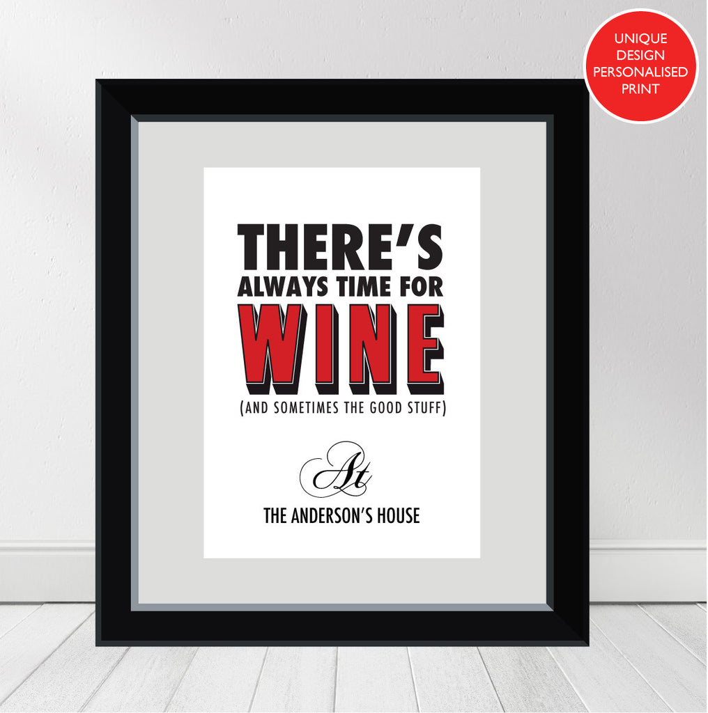 """Always Time For (Red) Wine"" Personalised Print"