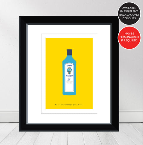 'Favourite GIN' Bombay Saphire Personalised Print