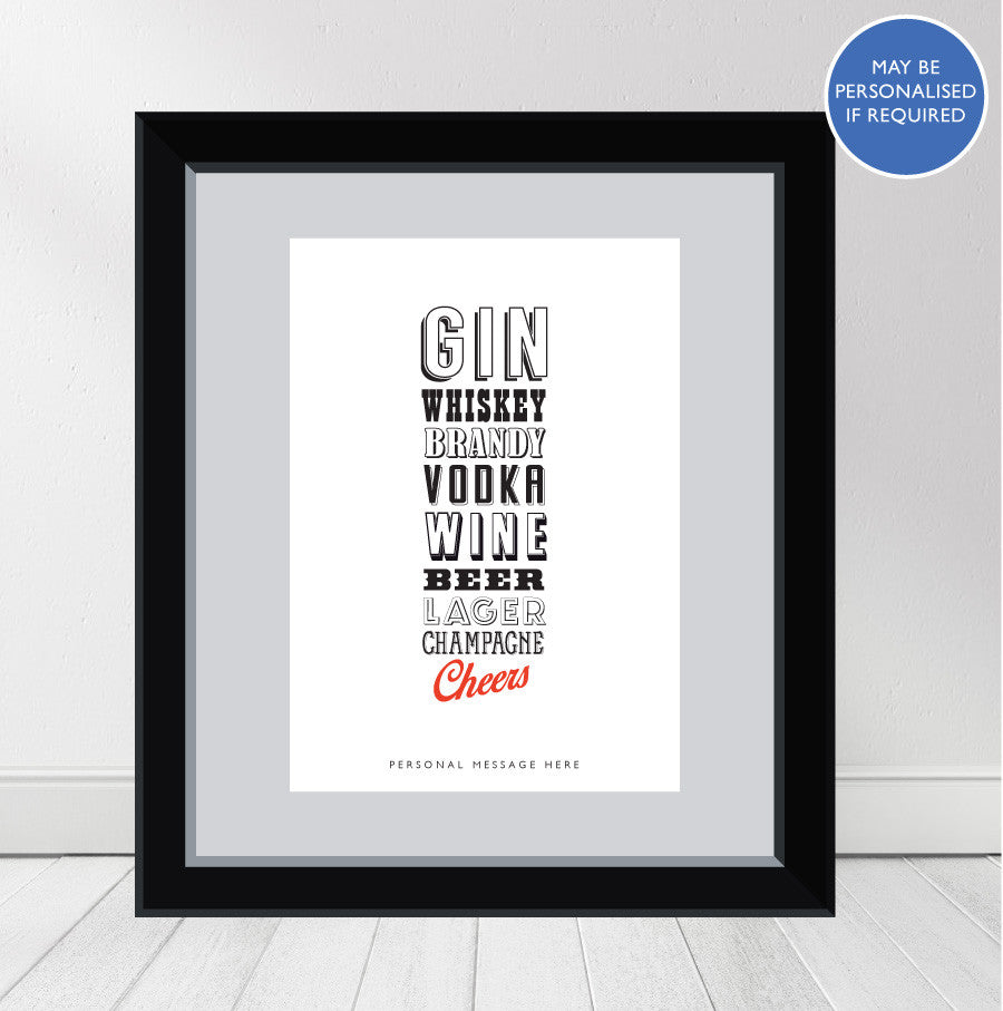 """CHEERS to Everyone"" Personalised Print"