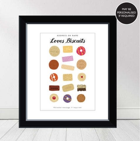 'Loves Biscuits' Personalised Print