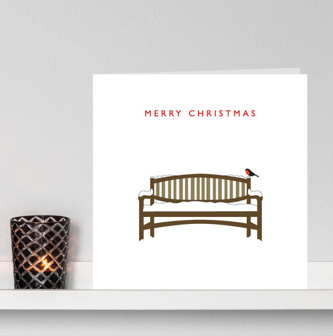 'Robin on a Snowy Bench' Christmas card