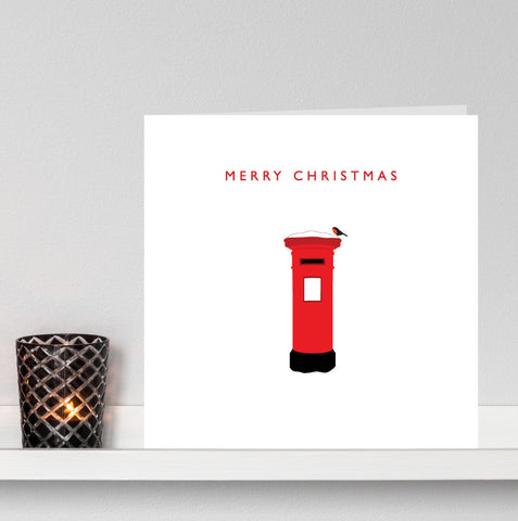 'Robin on a Snowy Postbox' Christmas card