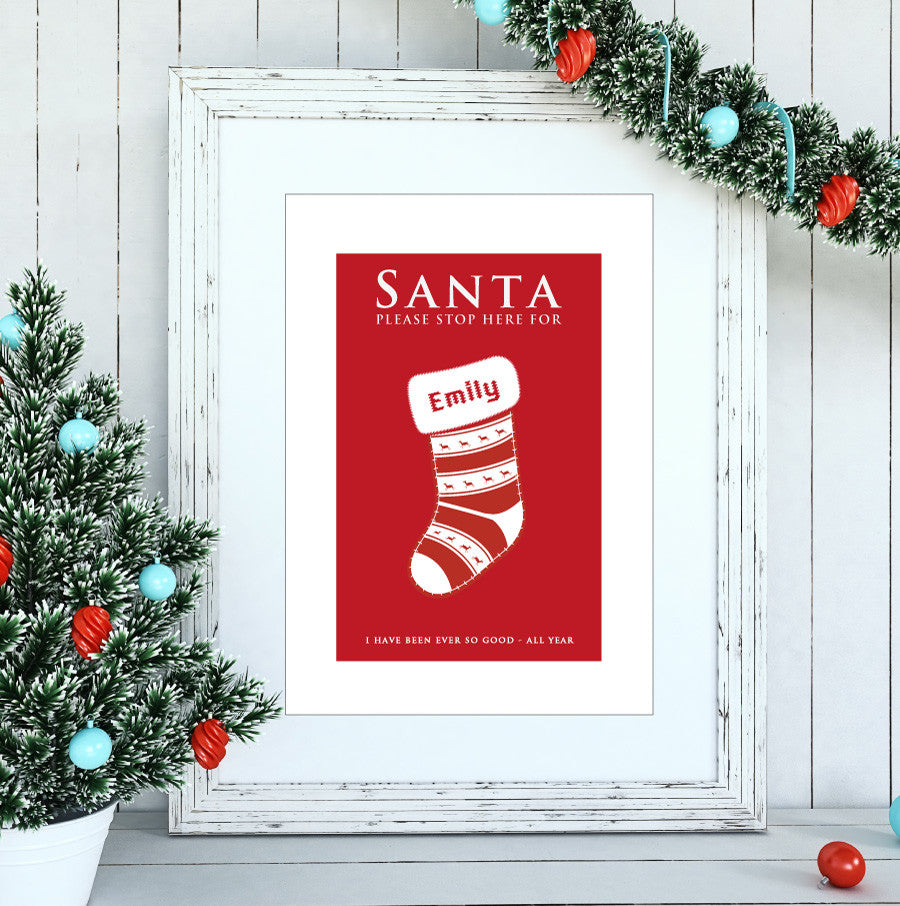 'Santa Please Stop Here' Personalised Print