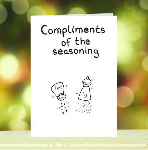 'Compliments of the Seasoning (Holly & Ivy)' Christmas Card