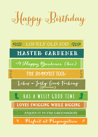 'Happy Birthday' Gardener Greetings Card