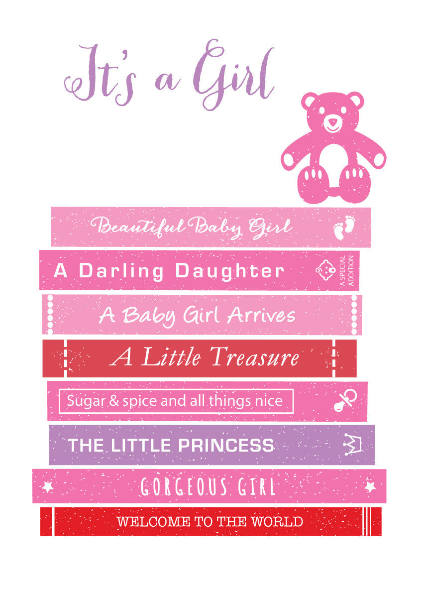 Its A Girl New Baby Greetings Card Loveday Designs