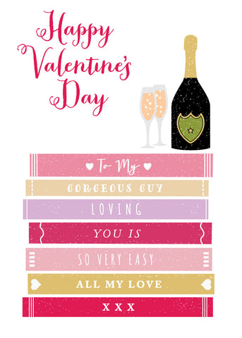 'Happy Valentine's to My Guy' Greetings Card