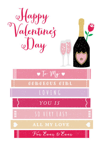 'Happy Valentine's to My Girl' Greetings Card