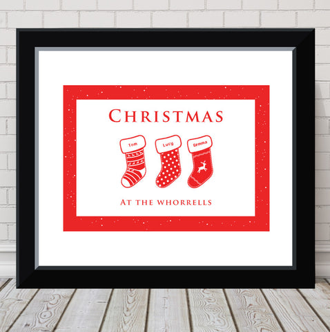 'Christmas Stockings' Personalised Print
