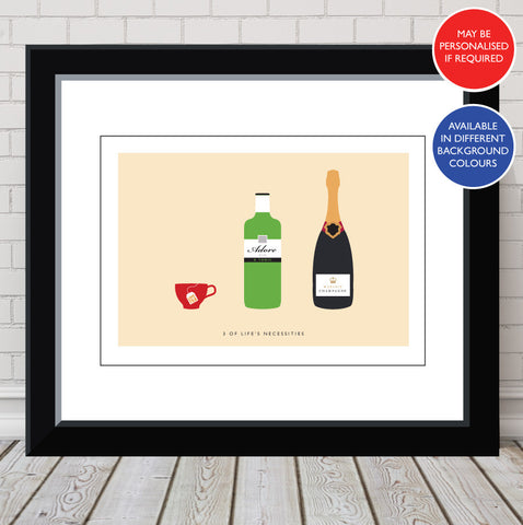 'Love Tea, Adore Gin, Worship Champagne' Personalised Print