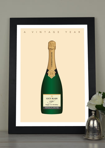 'A Vintage Year' Champagne Personalised Print