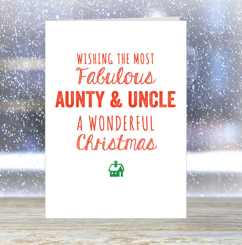 'Wishing The Most Fabulous Aunty & Uncle a Wonderful Christmas' Card