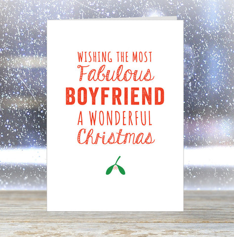 'Wishing The Most Fabulous Boyfriend a Wonderful Christmas' Card