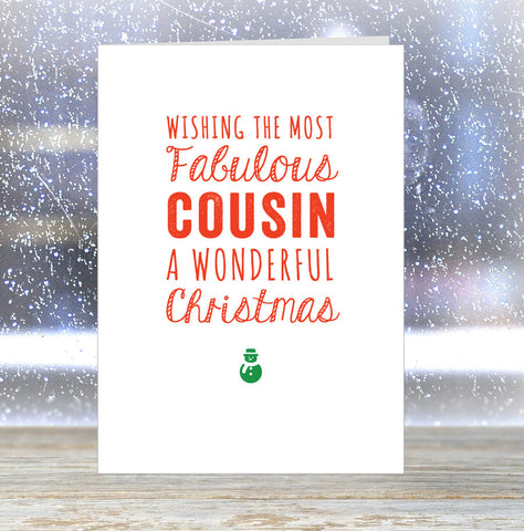 'Wishing The Most Fabulous Cousin a Wonderful Christmas' Card