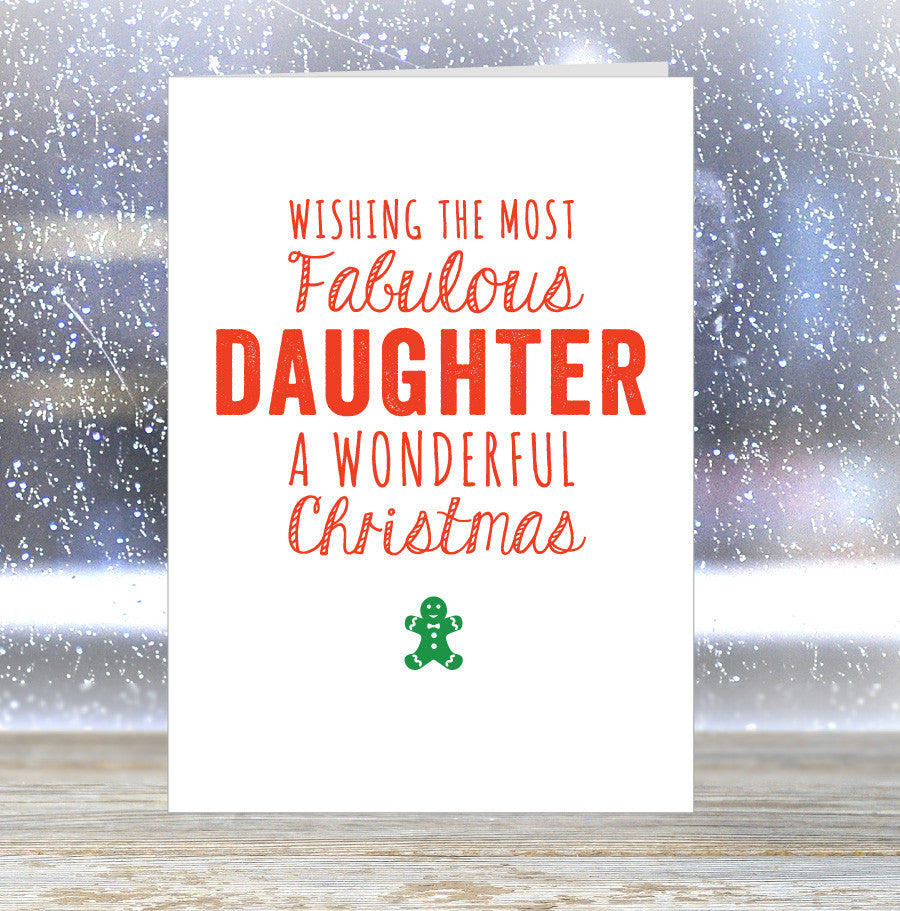 'Wishing The Most Fabulous Daughter a Wonderful Christmas' Card