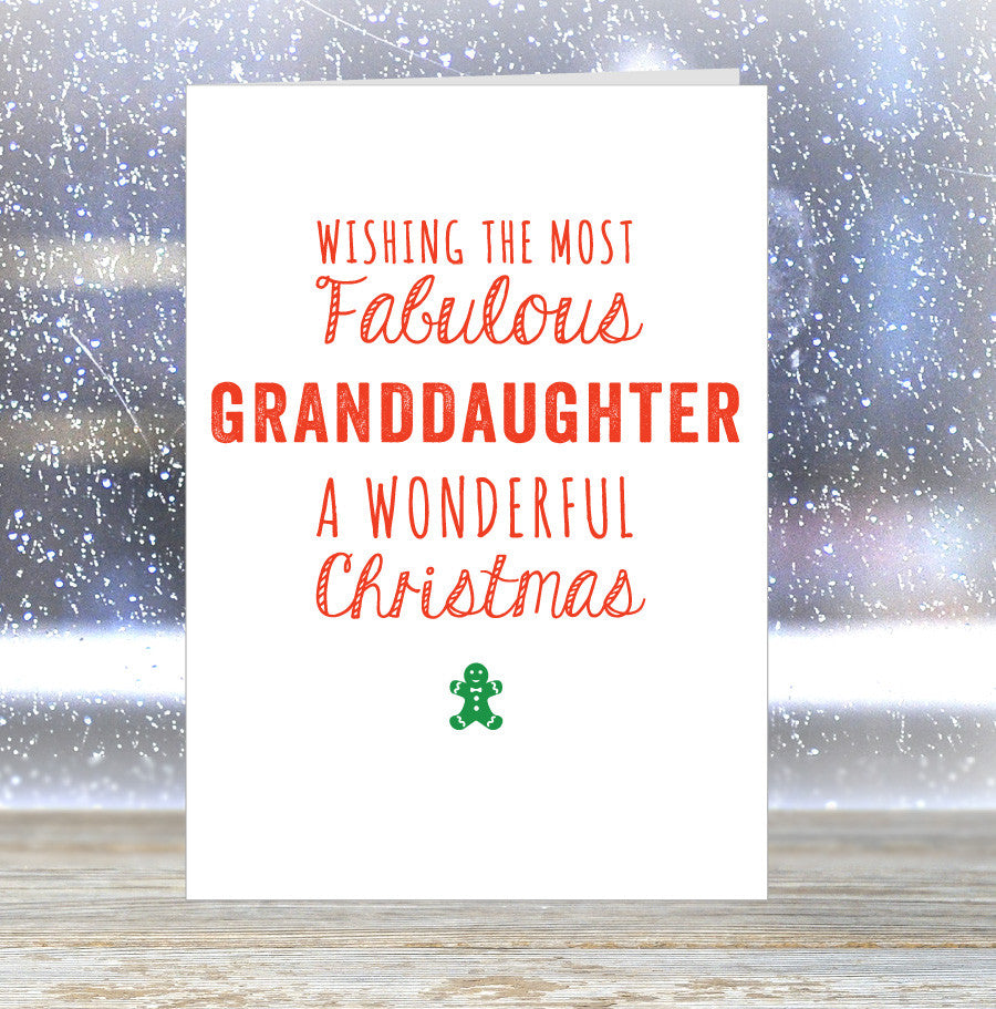 'Wishing The Most Fabulous Granddaughter a Wonderful Christmas' Card