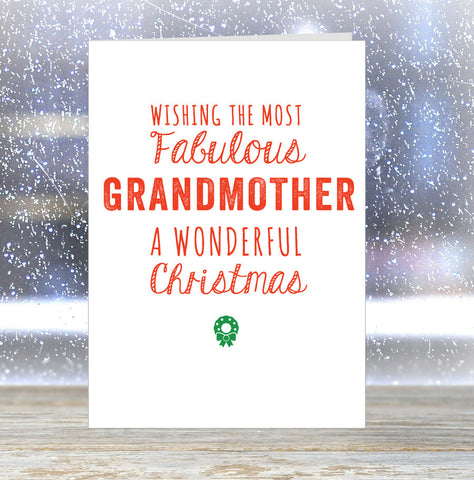 'Wishing The Most Fabulous Grandmother a Wonderful Christmas' Card