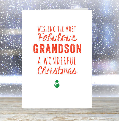 'Wishing The Most Fabulous Grandson a Wonderful Christmas' Card