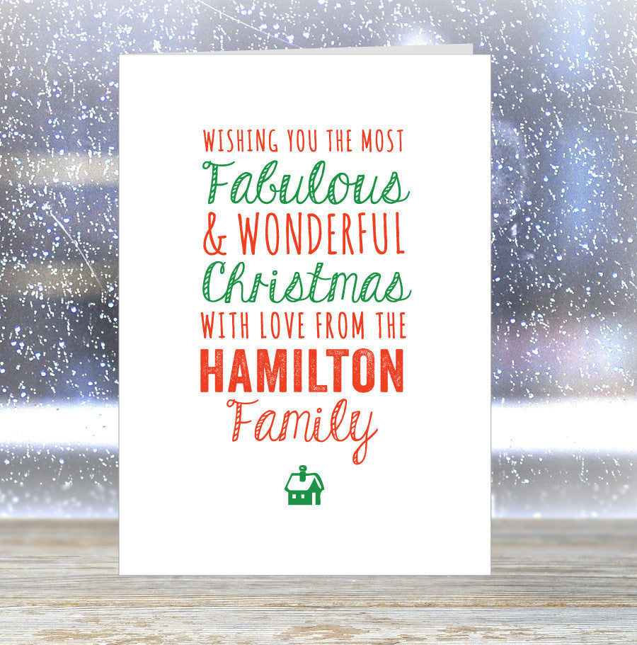 'Wishing you The Most Fabulous Christmas' Personalised Family (your name) card
