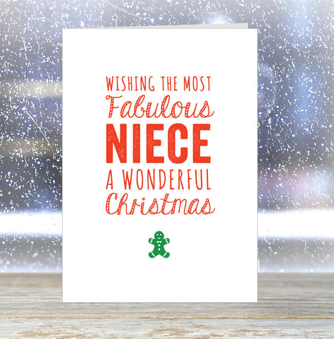 'Wishing The Most Fabulous Niece a Wonderful Christmas' Card