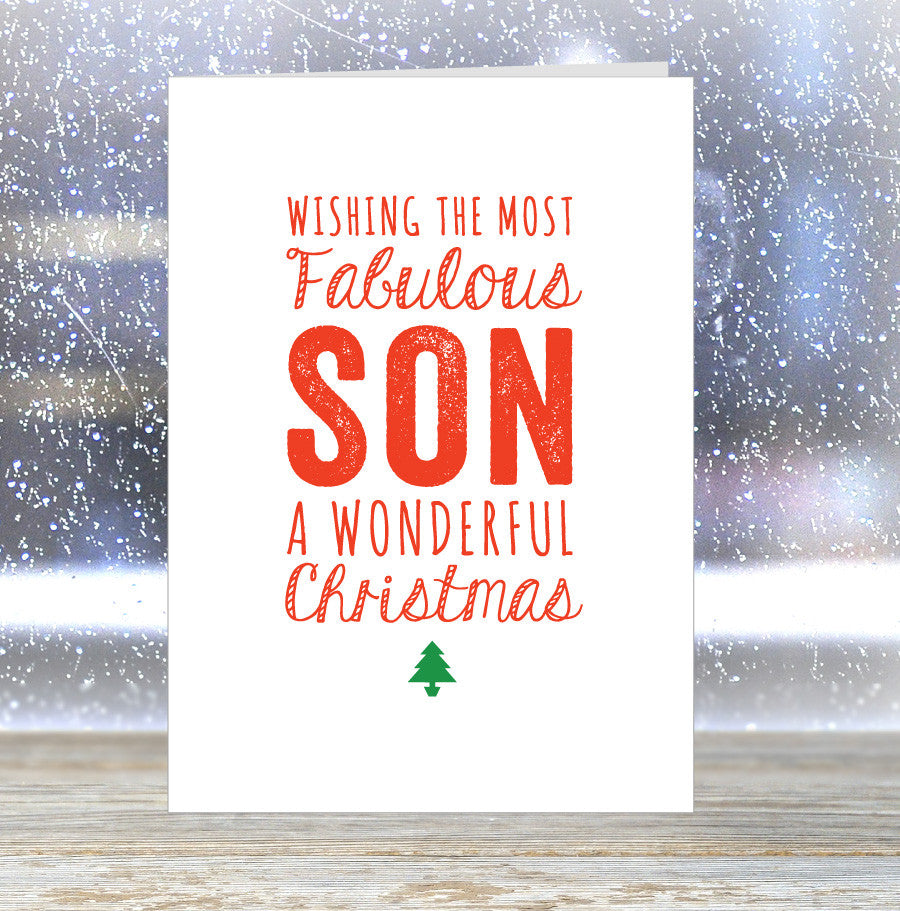 'Wishing The Most Fabulous Son a Wonderful Christmas' Card