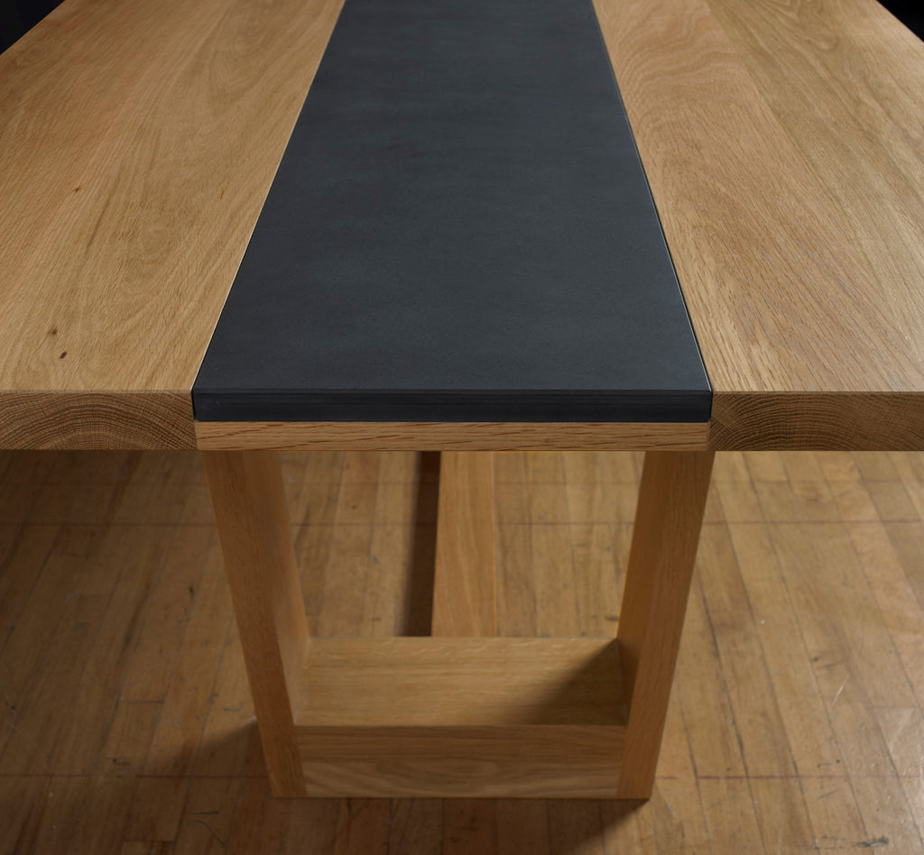 Oak Dining Table With Welsh Slate Insert Paul Case Furniture