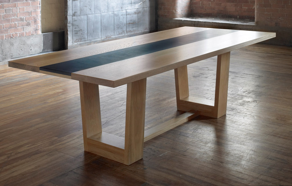 Oak Dining Table With Welsh Slate Insert Paul Case Furniture - Dining table with slate inlay