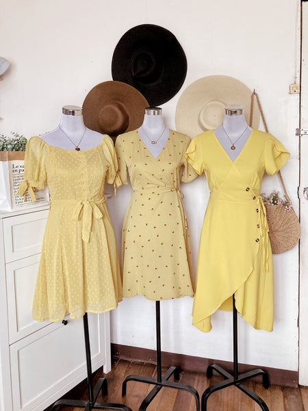 AYANA Chiffon Puff Sleeve Dress - Yellow