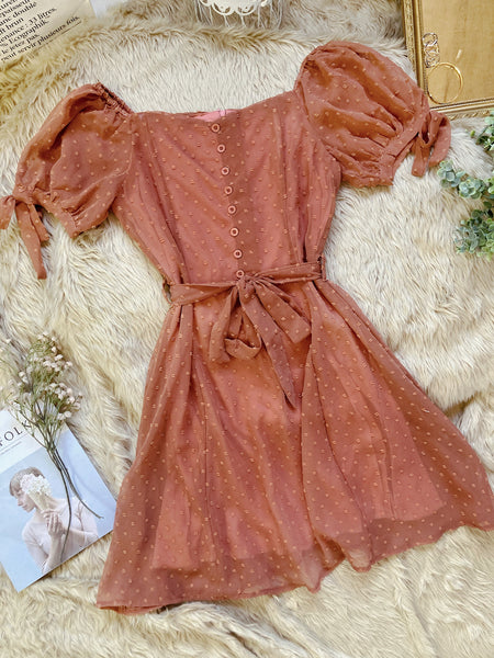 AYANA Chiffon Puff Sleeve Dress - Rust