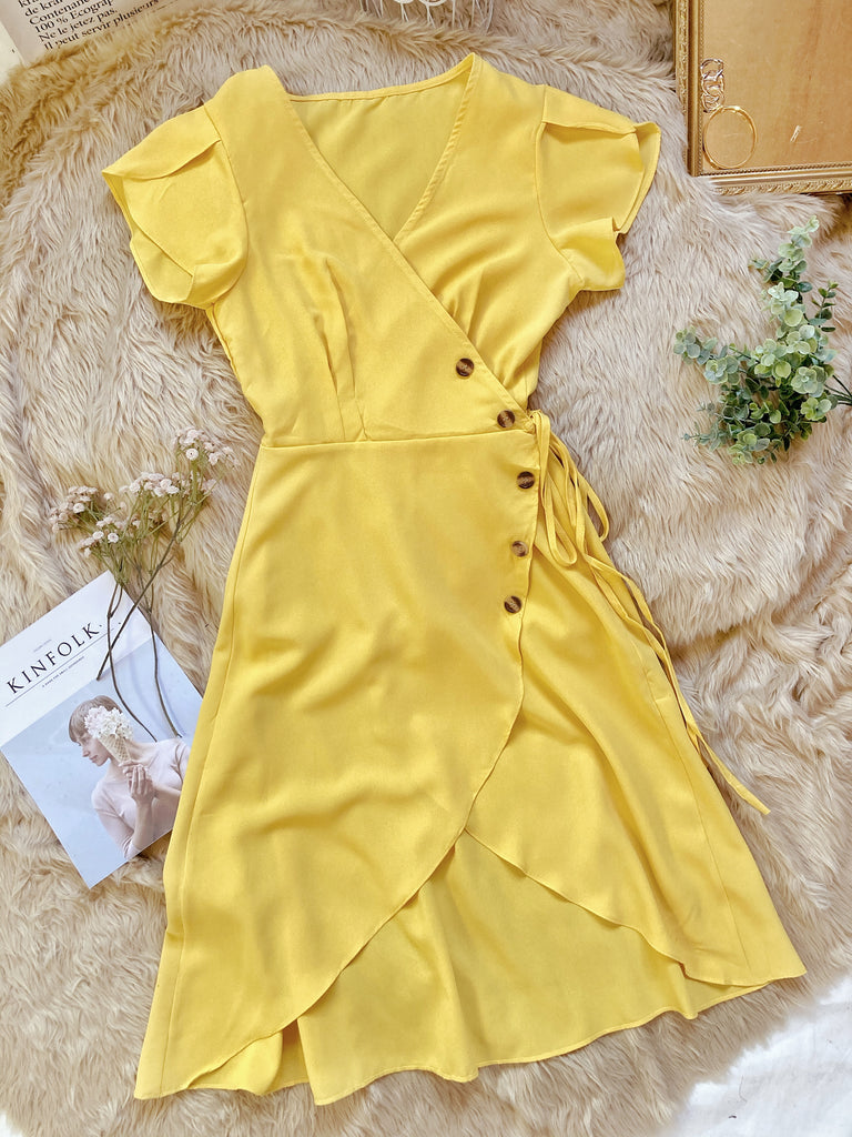 GIULIANA Wrap Dress - Yellow