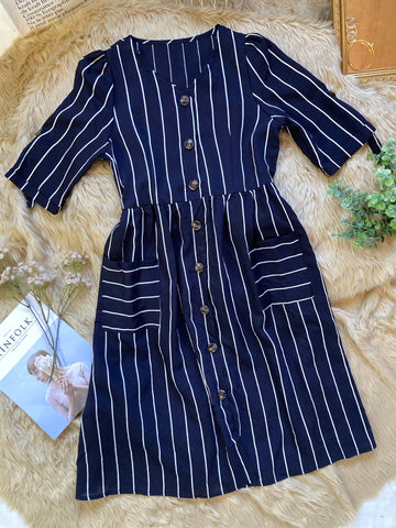 MILAN Midi Button Dress - Navy Blue Stripes