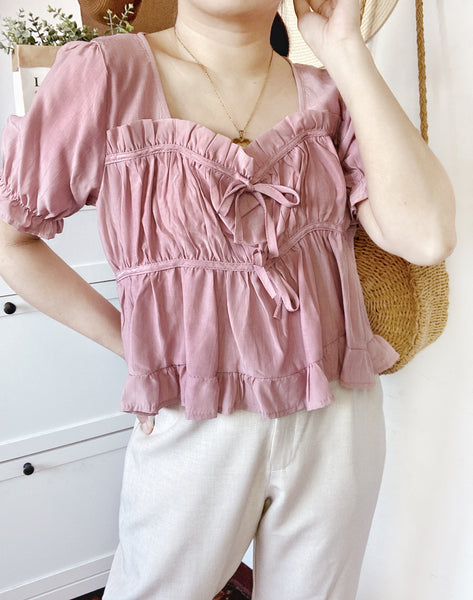 CARINA French Ruffle Puff Sleeve Top