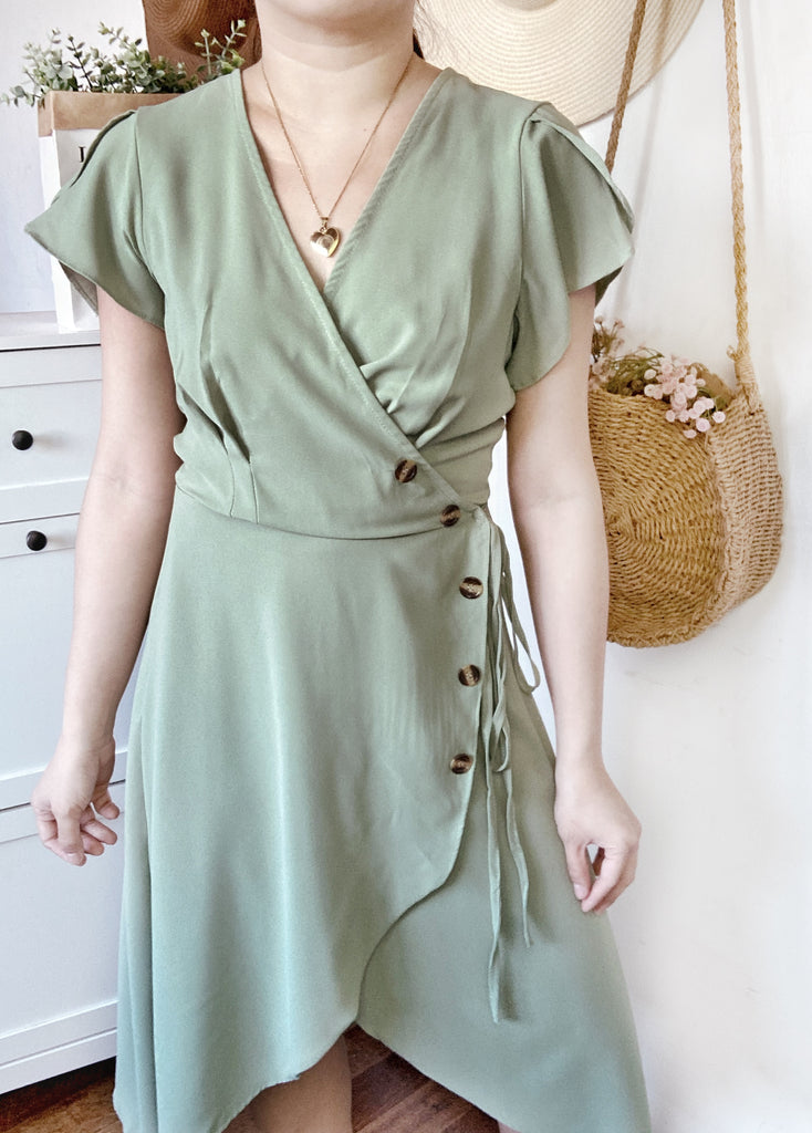 GIULIANA Wrap Dress - Sage