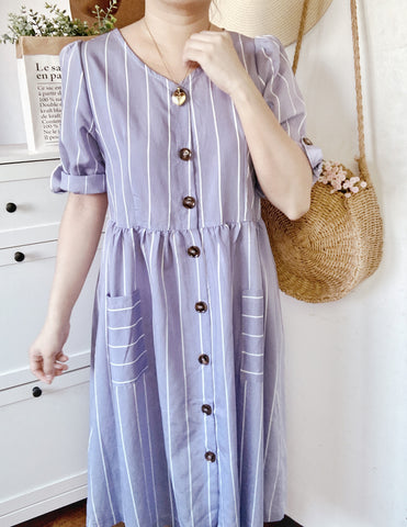MILAN Midi Button Dress - Blue Stripes