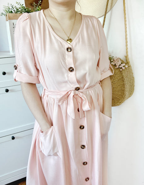 MILANA Midi Button Dress - Blush Pink